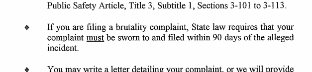 Rockville PD complaint form, 1/17/2016 - wrong since 10/1/2016.